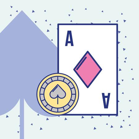 casino ace card and chip cartoon vector illustration Ilustrace