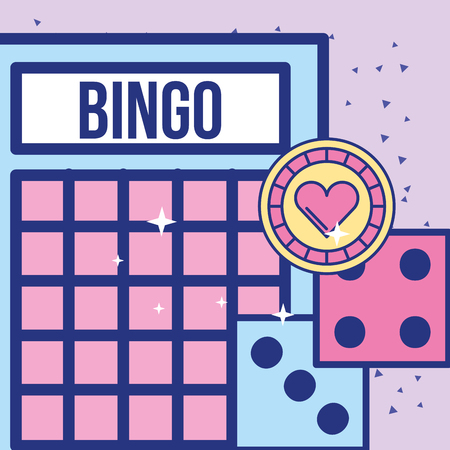 casino bingo card dices and chip game vector illustration