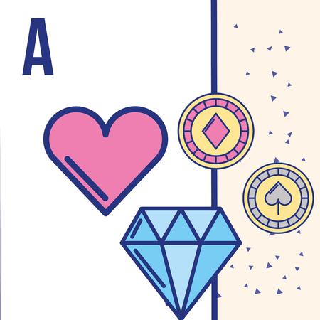 casino game gamble heart diamond chips vector illustration