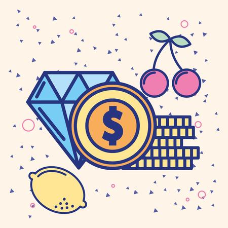 casino diamond coins dollar fruits game vector illustration