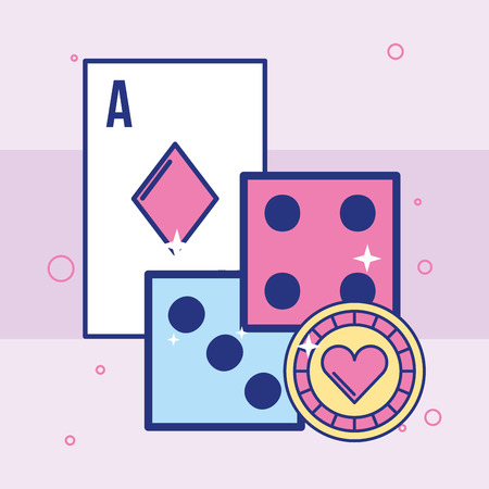 casino dices double card and chip vector illustration 向量圖像
