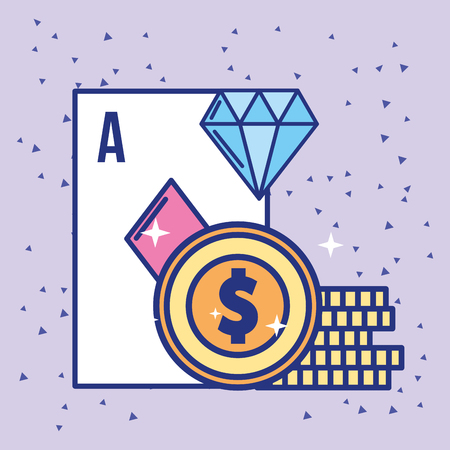 casino ace card dollar coin and diamond vector illustration 向量圖像