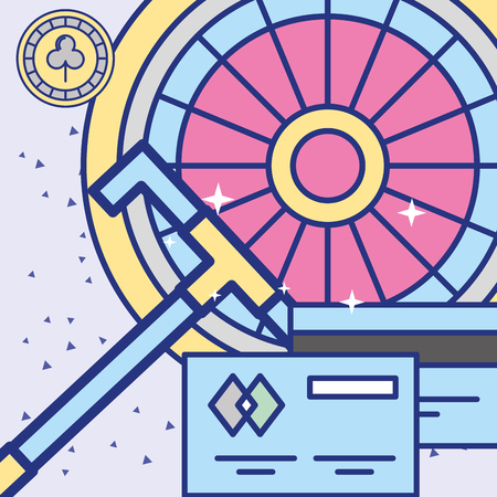 Casino-Roulette-Rotation und Bankkreditkarten-Vektorillustration