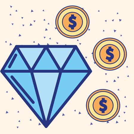 big diamond and dollar coins treasure vector illustration