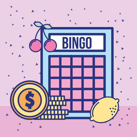 casino bingo game and pile dollar coins money vector illustration