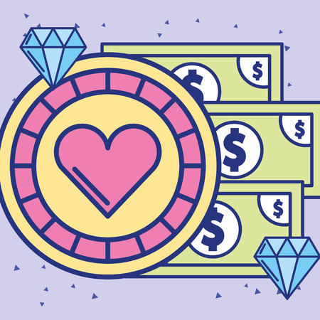 casino chip and banknote money diamond vector illustration