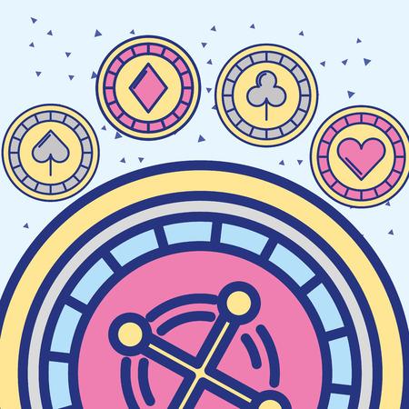 casino roulette chips aces game vector illustration Foto de archivo - 106208000