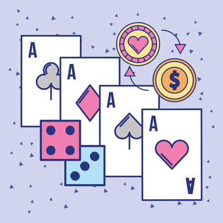casino aces card craps and chip coin vector illustration