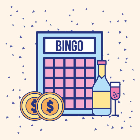 bingo coins money and drink bottle vector illustration Stock Photo