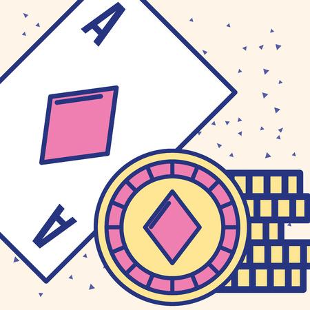 casino ace card chips fortune game vector illustration Illustration