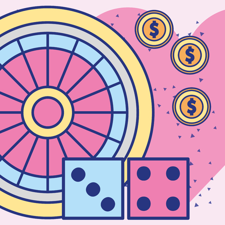 casino roulette pair crap and dollar coins vector illustration