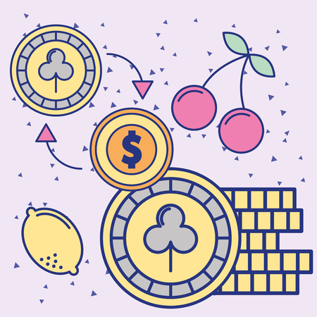 casino stacked chips and dollar coin vector illustration Banco de Imagens