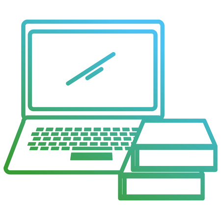 laptop computer with ebooks vector illustration design