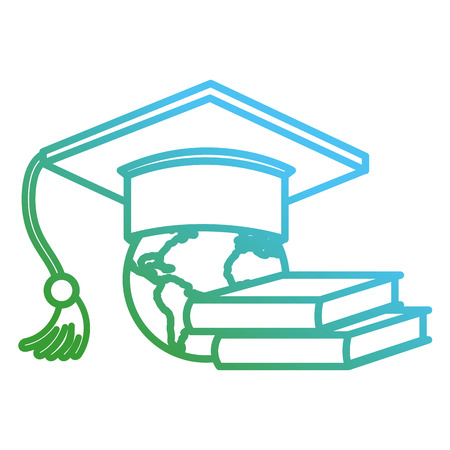 graduation hat with books and earth planet vector illustration design