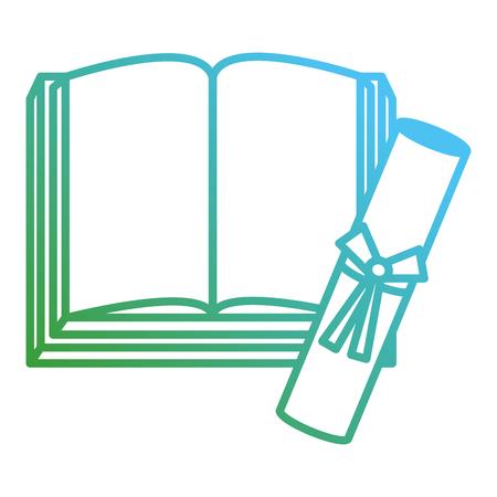 text book school with diploma vector illustration design Stockfoto - 112065022