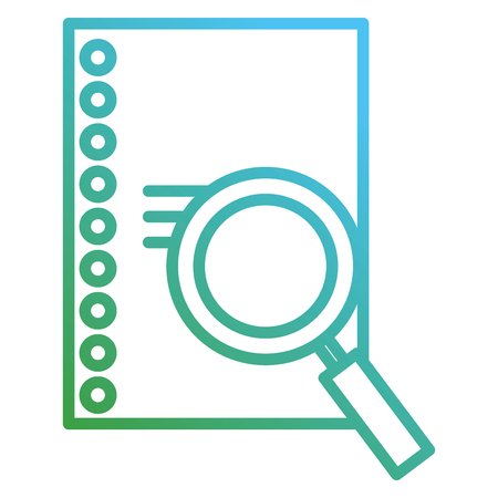 magnifying glass and sheet notebook vector illustration design Imagens