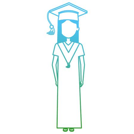 Graduación de estudiante mujer con uniforme, diseño de ilustraciones vectoriales