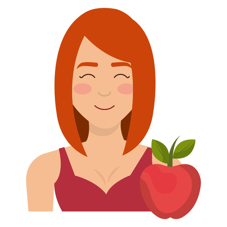 young woman with apple character vector illustration design Banque d'images - 112065047