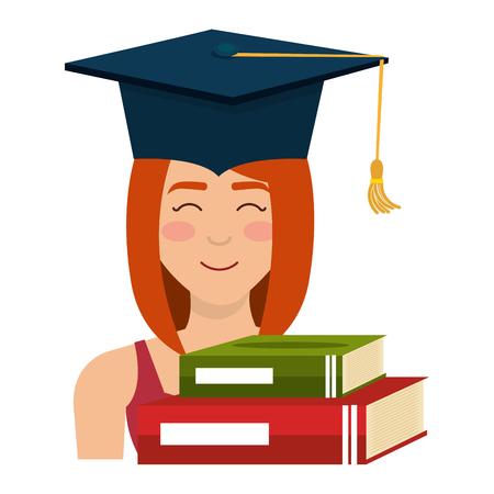 woman student graduation with books vector illustration design