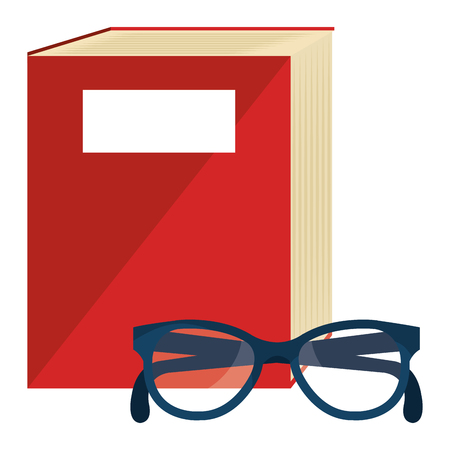 text books school with glasses vector illustration design