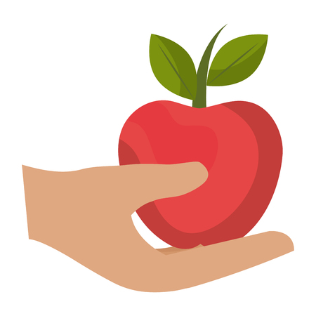 hand human protected with apple vector illustration design