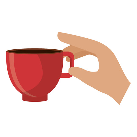 hand with coffee cup vector illustration design Vettoriali