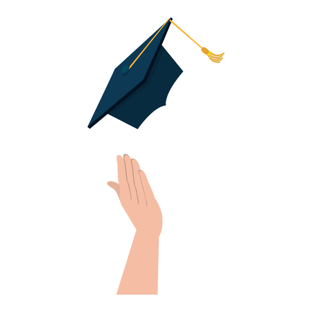 hand throwing hat graduation vector illustration design
