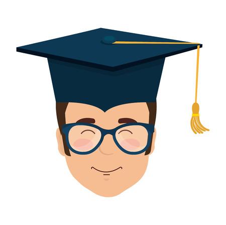 head student graduation with uniform vector illustration design Ilustración de vector