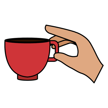 hand with coffee cup vector illustration design Illustration