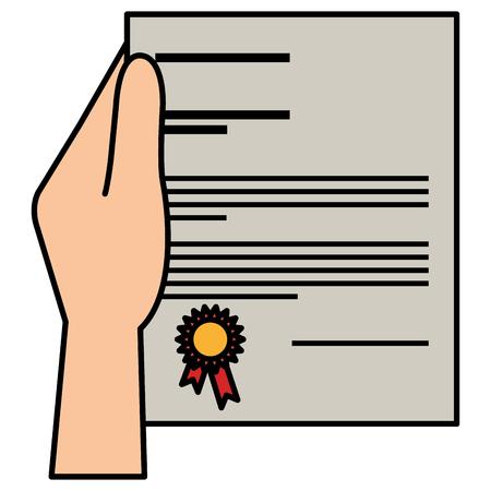 hand with graduation certificate vector illustration design