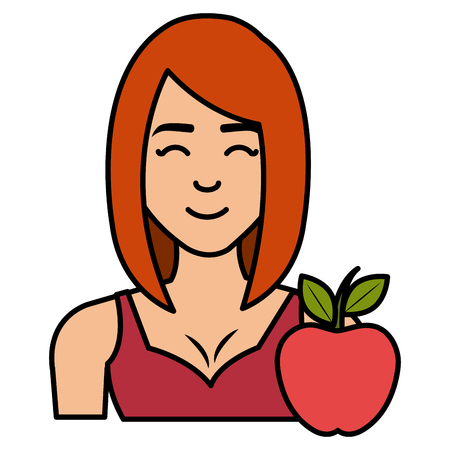 young woman with apple character vector illustration design Banque d'images - 112065096
