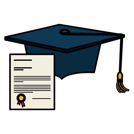 graduation hat with diploma vector illustration design Banco de Imagens - 112065101