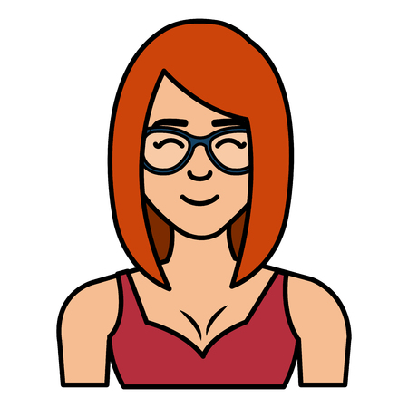 young woman with glasses character vector illustration design  イラスト・ベクター素材