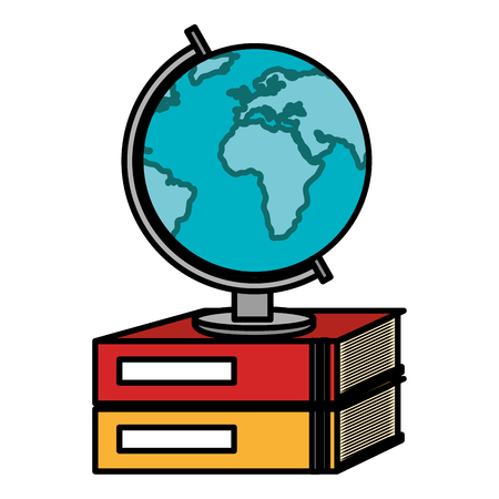 text book school with planet earth vector illustration design Illustration