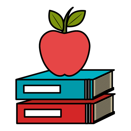 text books school with apple vector illustration design