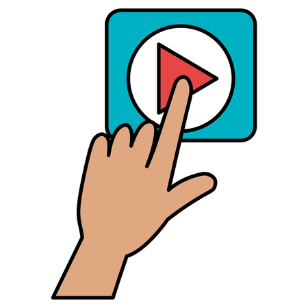hand touching play button vector illustration design