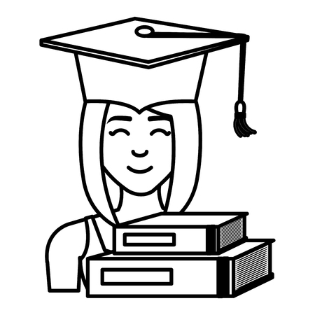 woman student graduation with books vector illustration design
