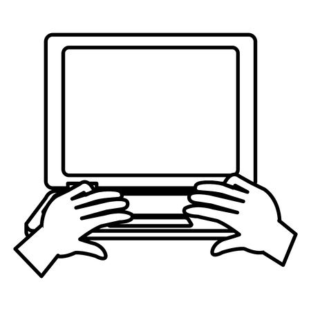 laptop and hands typing vector illustration design