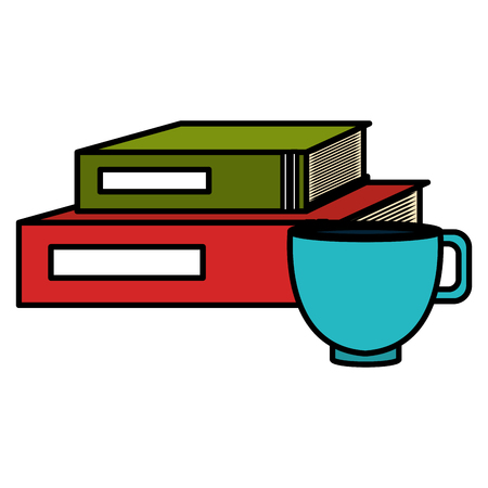 text books school with coffee cup vector illustration design