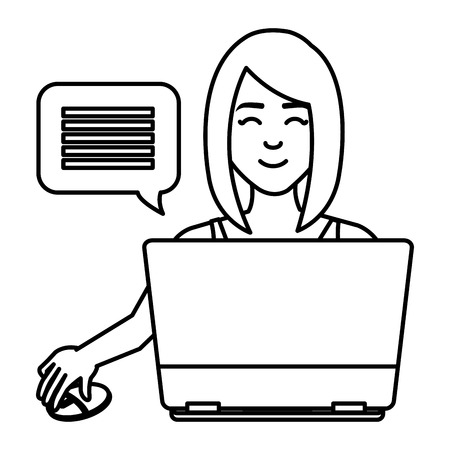 young woman using laptop character vector illustration design