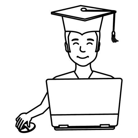 Graduación de estudiantes con diseño de ilustración de vector de computadora portátil