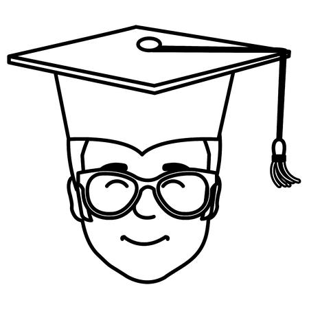 head student graduation with uniform vector illustration design
