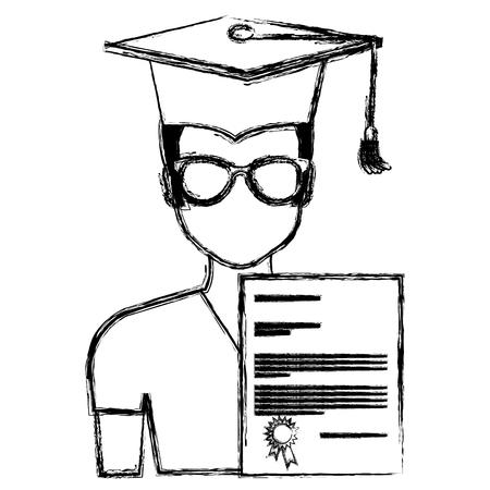 student graduation with diploma vector illustration design