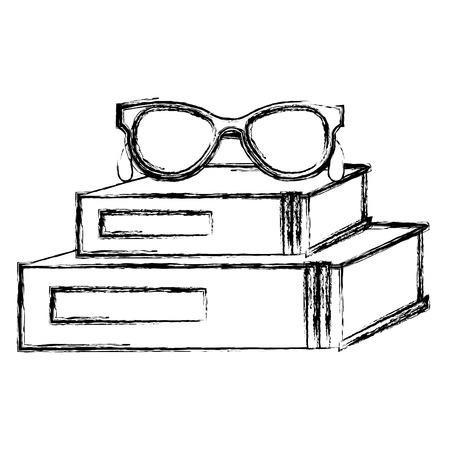 scuola di libri di testo con disegno di illustrazione vettoriale occhiali Vettoriali