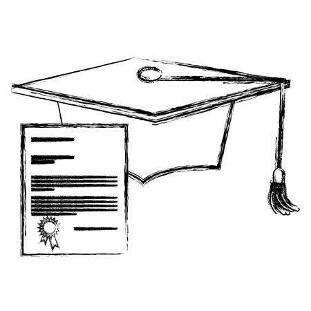 graduation hat with diploma vector illustration design