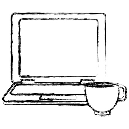 laptop computer with coffee cup vector illustration design Illustration