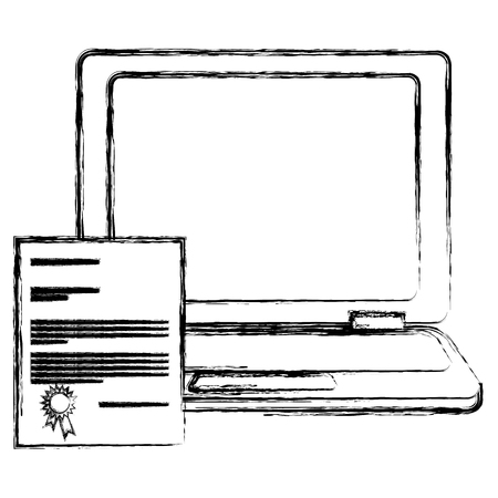 laptop computer with diploma vector illustration design