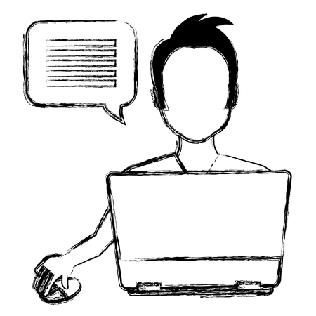 young man using laptop with speech bubble vector illustration design