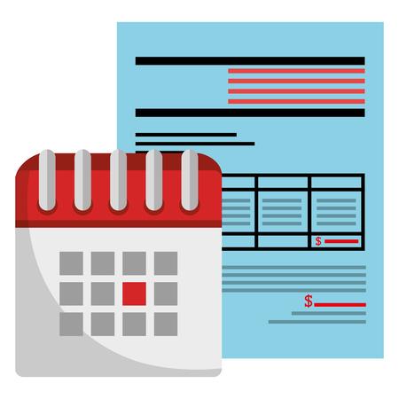 calendar reminder with financial document vector illustration design Stock Vector - 112065244