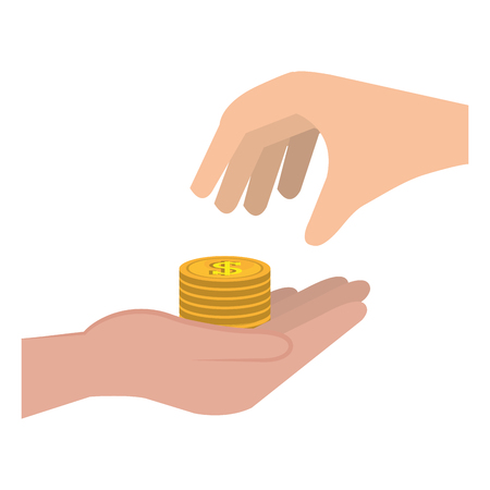 hand with pile coins money vector illustration design